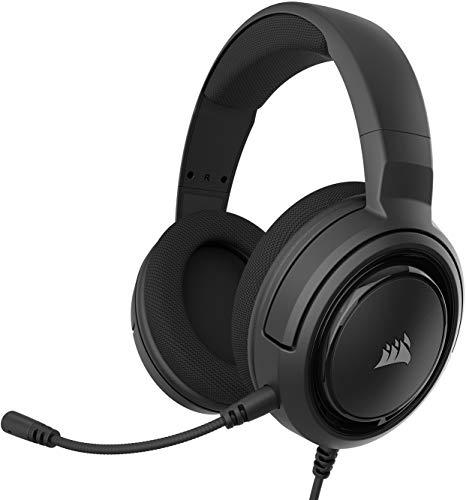 Corsair HS35 - Auriculares Stereo para Juegos (Membrana Neodimio de 50 mm, Micrófono Unidireccional Extraíble, Estructura Ligera, Compatible con PC, Xbox One, PS4, Nintendo Switch y Móviles), Negro