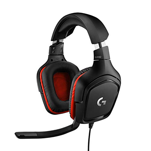 Logitech G332 Auriculares Gaming con Cable, Transductores 50 mm, Almohadillas Giratorias Cuero Sintético, 3,5 mm Jack, Mic Volteable para Silenciar, Ultra-Ligero, PC/Xbox One/PS4/Switch - Negro/Rojo