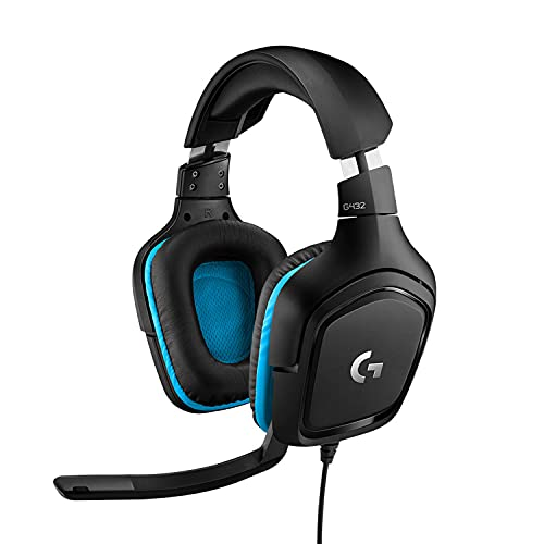 Logitech G432 Auriculares Gaming con Cable, Sonido 7.1 Surround, DTS Headphone:X 2.0, Transductores 50mm, USB y Jack Audio 3,5mm, Microfóno Volteable, Peso Ligero, PC/Mac/Xbox One/PS4/Switch - Negro
