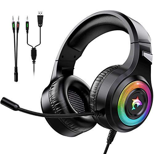 Cascos Gaming PS4,Cascos Gaming de Estéreo con Micrófono Cascos Gaming 3.5mm Jack con RGB LED Bass Surround y Cancelación de Ruido Auriculares Compatible con PC/Xbox One/PS5 (RGB)